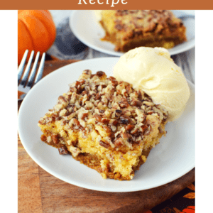 This kid-friendly fall dessert is so fast & easy to bake and a great alternative to pumpkin pie for Thanksgiving or fall parties!