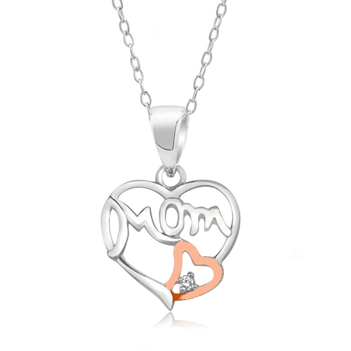 Sterling Silver Two Tone Cubic Zirconia Mom Necklace $5.99 + FREE Shipping!