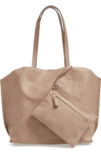 street-level-faux-leather-tote-wristlet