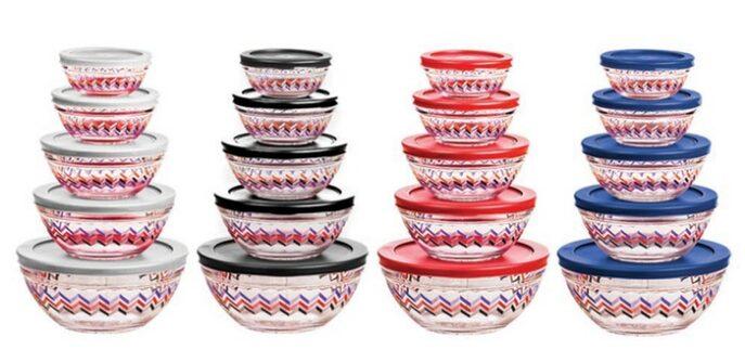 Chevron Glass Bowl Sets (10-Piece) $5!