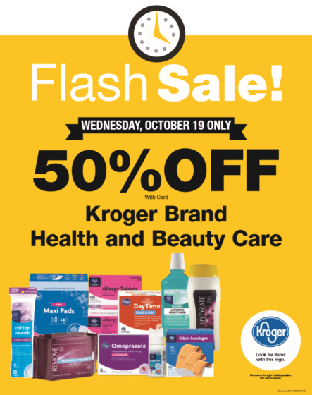 50% off Kroger Brand Health and Beauty Items