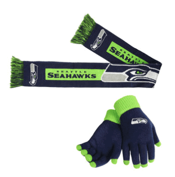 Seattle Seahawks Scarf & Gloves Set