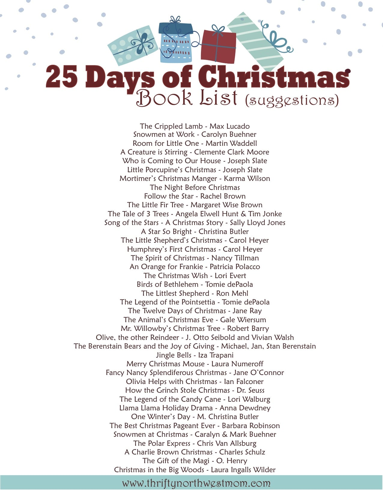 photo relating to Printable Christmas Books referred to as 25 Times of Xmas Textbooks - Xmas Countdown
