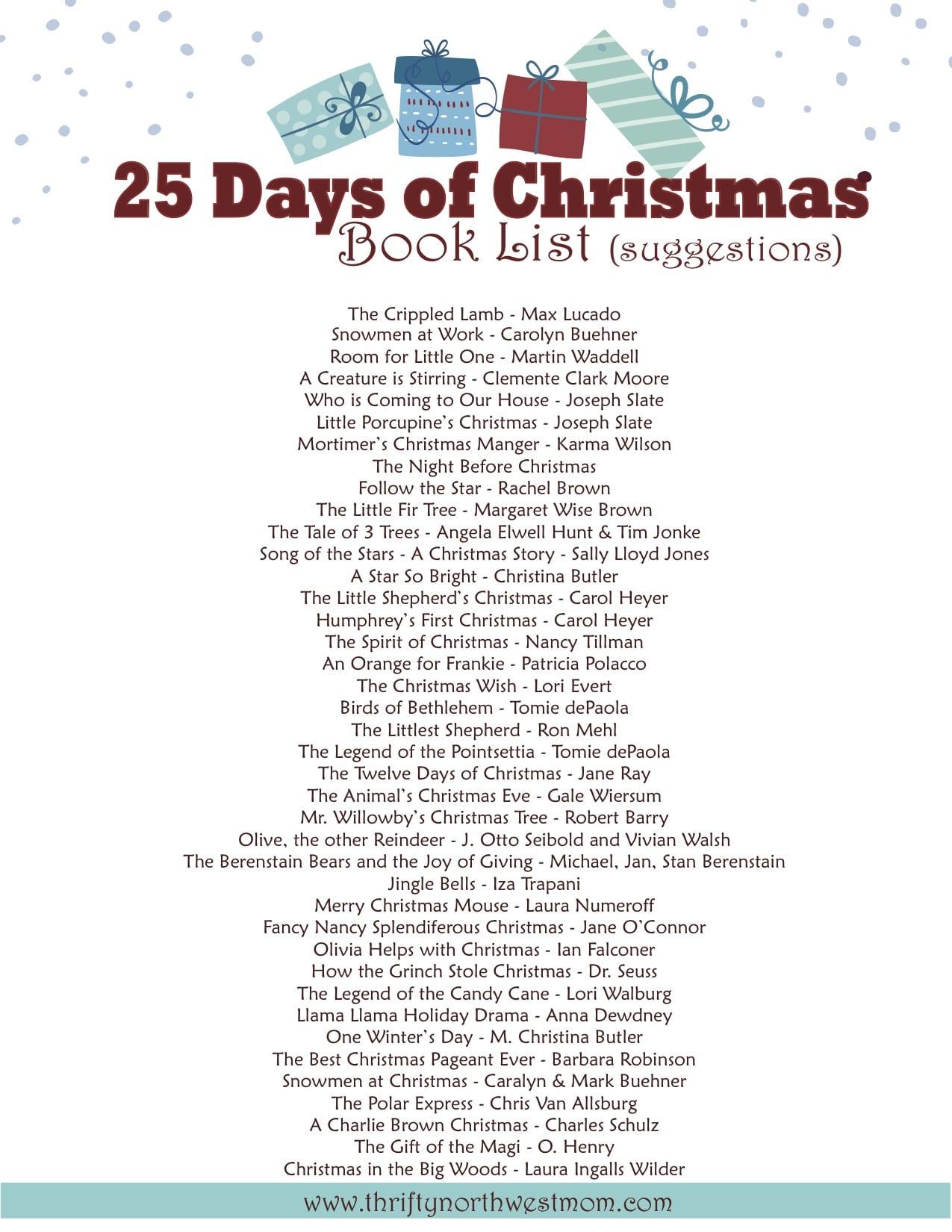 25 Days of Christmas Books - Christmas Countdown