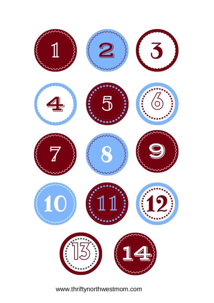 25 Days of Christmas Advent Numbers Free Printable