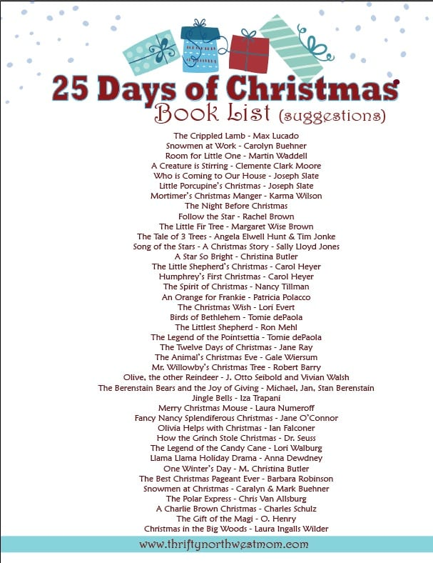 printable list of christmas book suggestions you can print this off to use as you gather books for the month of december leading up to christmas
