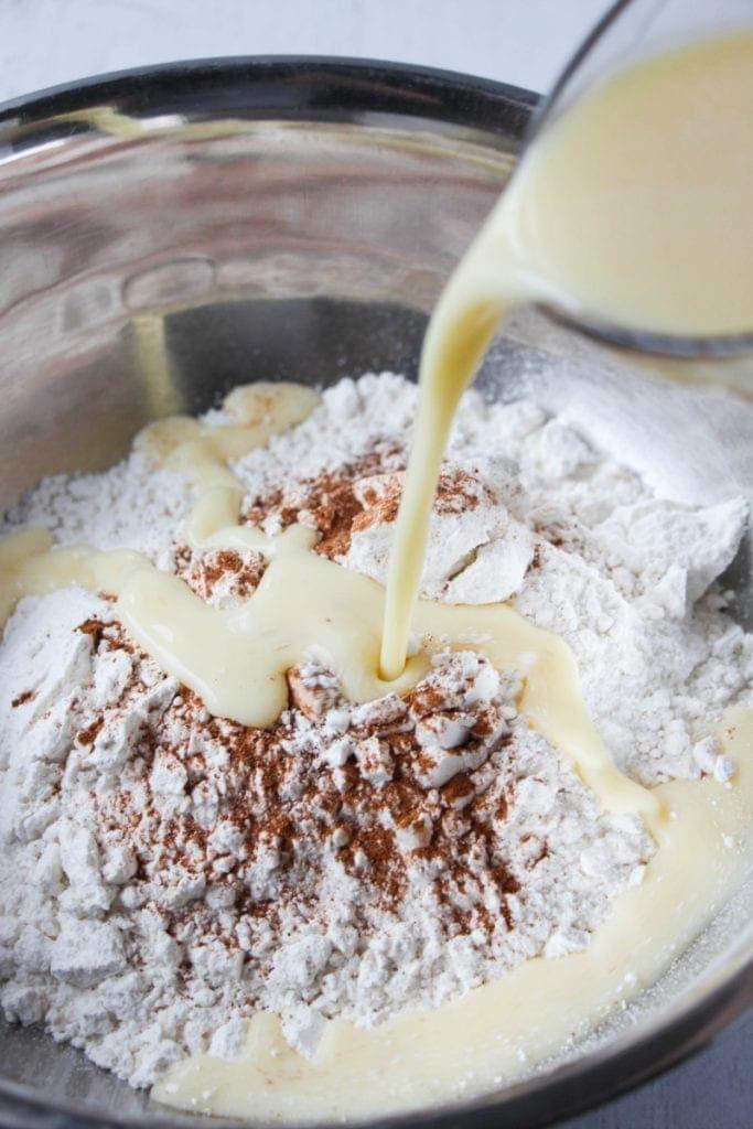 Eggnog Pancakes wet & dry Ingredients