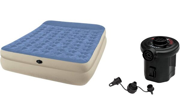 Intex Queen Raised Airbed Mattress with Battery Pump Value Bundle