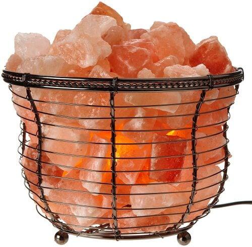 Natural Himalayan Rock Salt Lamps In Metal Baskets