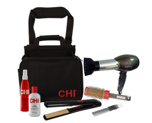 Chi Flat Iron, Blow Dryer, Styling Set with Carrying Caddy –