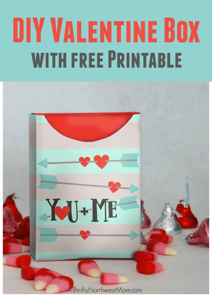 This DIY Valentine Box with Free Printable will take just minutes to assemble for a frugal gift filled with candies or goodies.