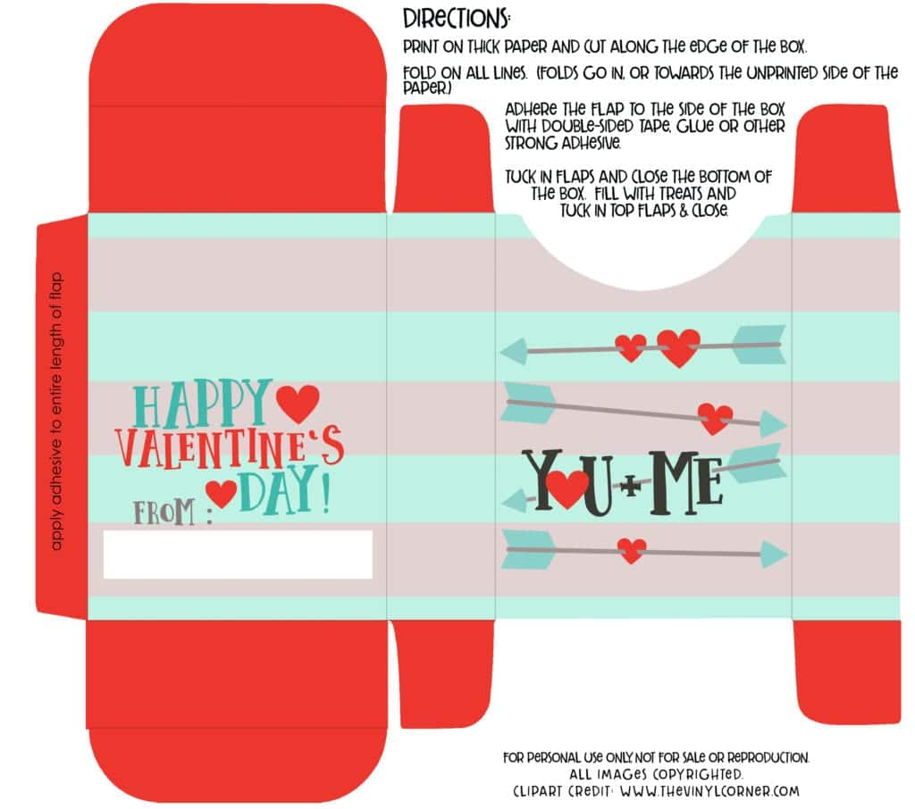 Free Valentine Box Printable - Fill with Goodies for Valentine's Day