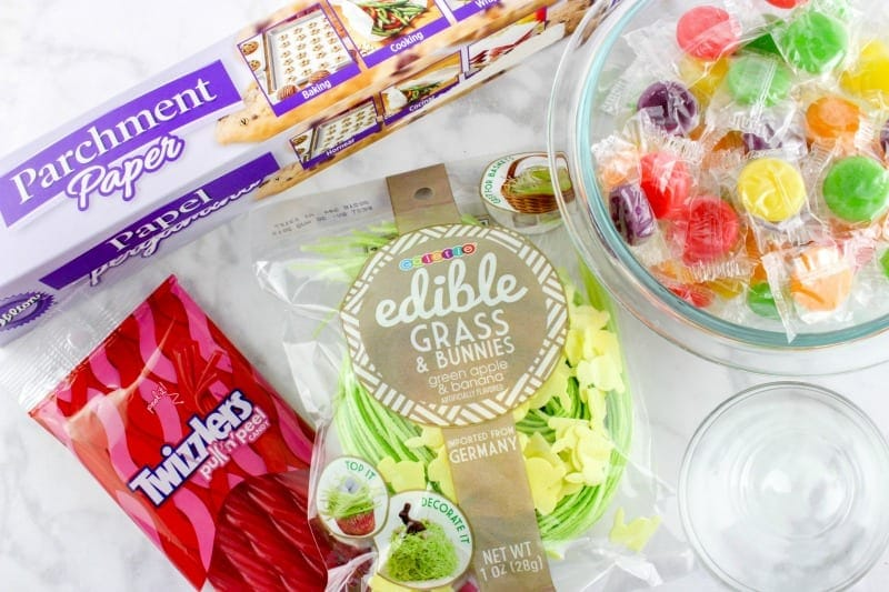 Ingredients needed for Candy Easter Bowls
