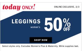Old Navy Leggings Sale – 50% Off Today (start at $6.50)
