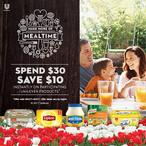 #SpringIntoMealtime – Save $10 When You Spend $30 On Unilever Products at Albertsons