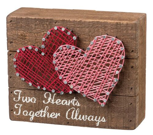 Primitives By Kathy Two Hearts String Art Box Sign $10.80