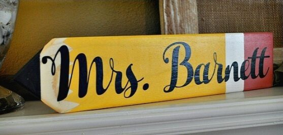 Personalized Teacher Pencil Sign – $10.99 – Perfect for Teacher Gift!