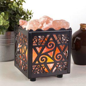 Crystal Decor Natural Himalayan Salt Lamp in Star Design Metal Basket