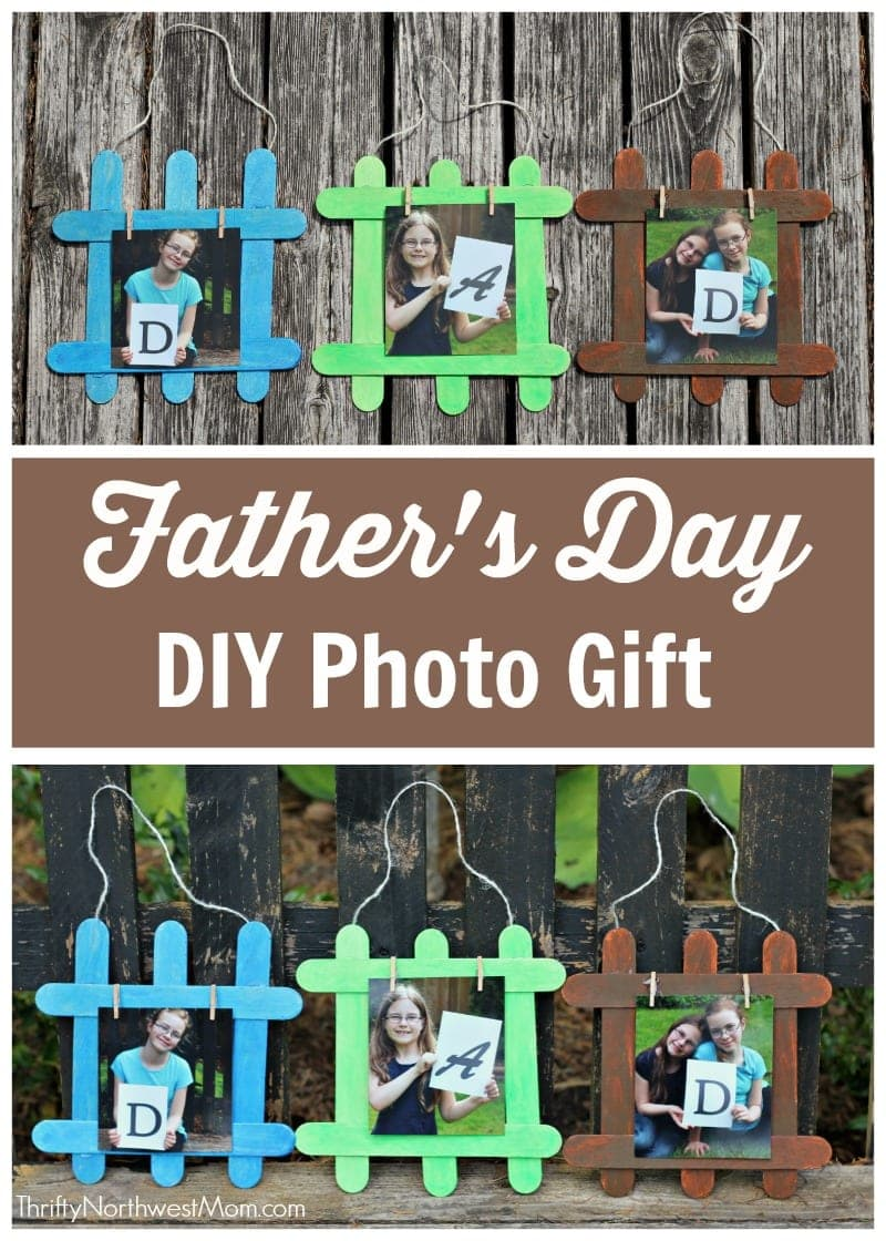 Make a personalized Father's Day DIY Photo gift for dad or grandpa featuring cute pictures of your kids in this simple popsicle stick craft.