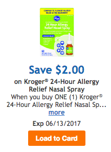 Kroger Digital Coupon for Allergy Spray