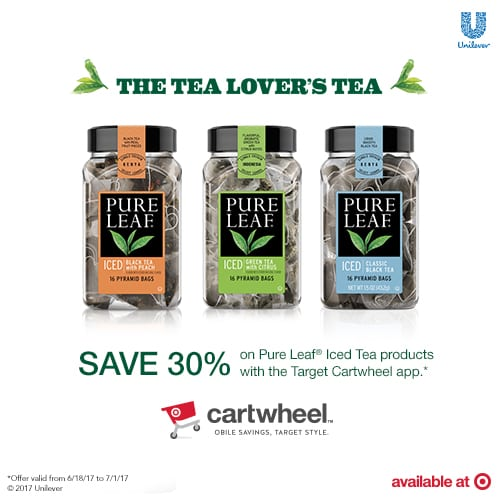 #PartyWithPureLeaf – Save Up To 30% off Pure Leaf Home Brewed Iced Teas – Cartwheel Coupon at Target!
