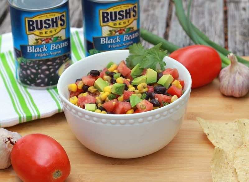 Corn and Black Bean Salsa with Bush's Best Beans for a healthy party appetizer