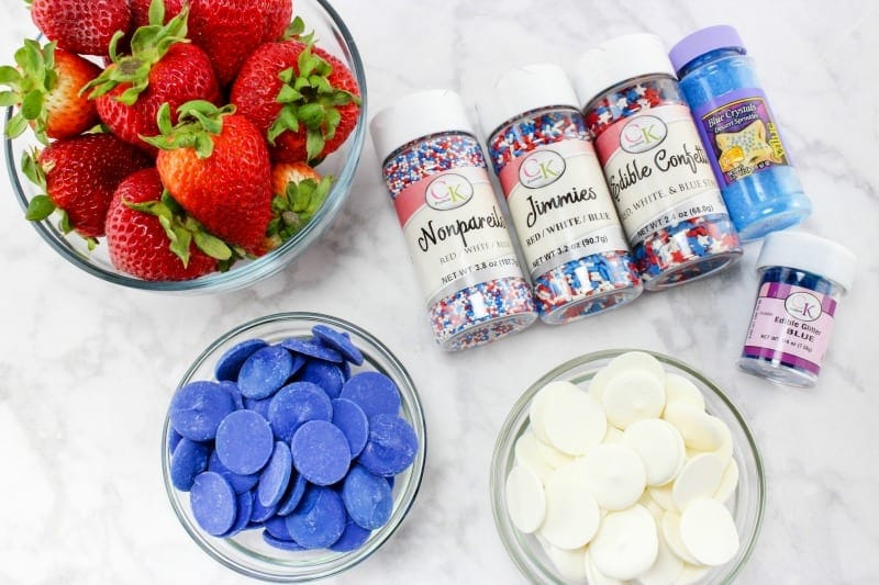 Ingredients for Patriotic White Chocolate Strawberries