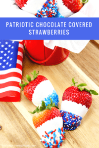 Patriotic Chocolate Covered Strawberries are perfect for Fourth of July, Memorial Day & Labor Day picnics as a fun red, white and blue themed treat.