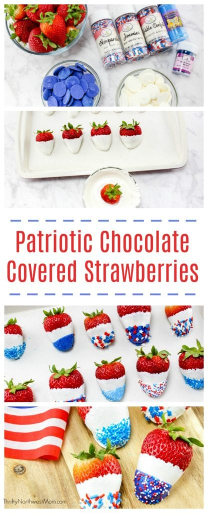 Red White & Blue Chocolate Covered Strawberries for Patriotic Parties