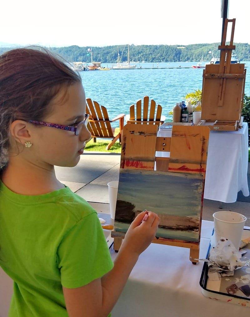 Watercolor painting class at Alderbrook resort