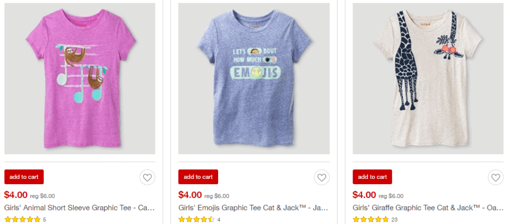 Cat & Jack T-Shirts for $4.20 at Target (after promo code)