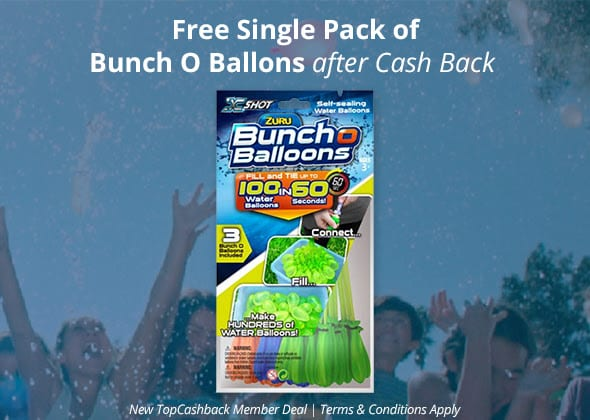 FREE Bunch of Balloons (Water Balloons) After Cashback For New TopCashBack Members!