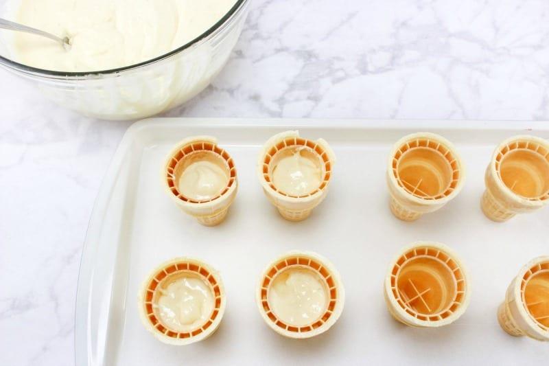 Ice Cream Sundae Cones - Filling cones with batter