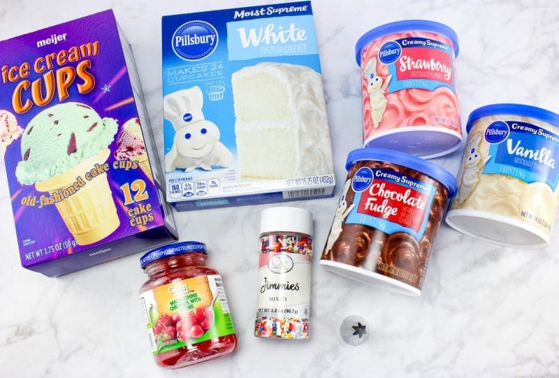 Ingredients for ice cream cupcakes