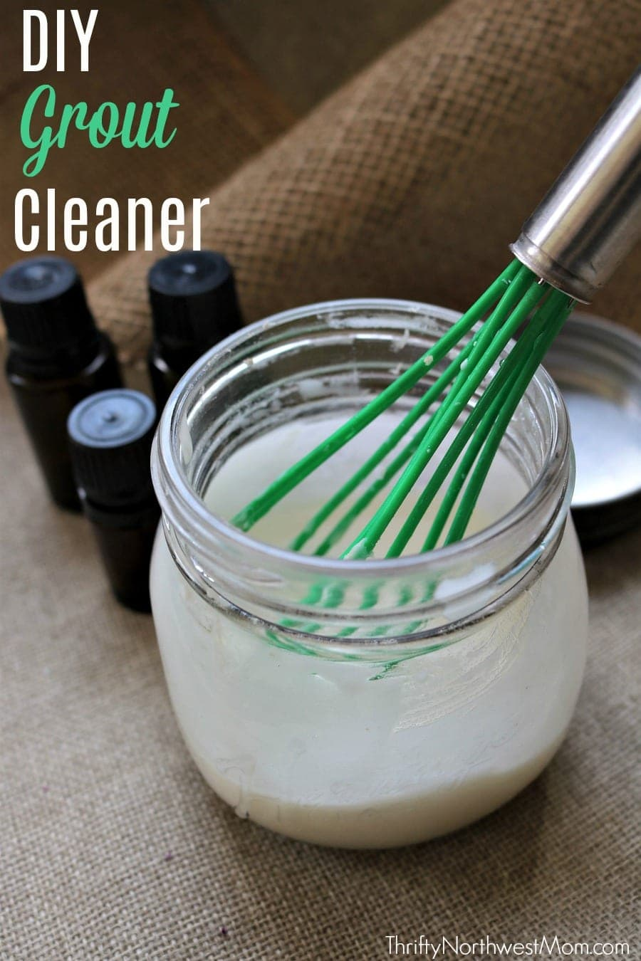 Try this DIY Homemade Grout Cleaner for a frugal, natural option for cleaning your bathroom tiles