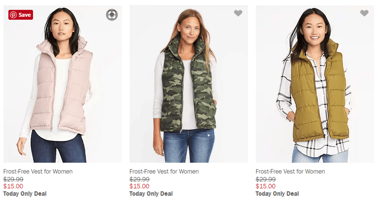 Old Navy Puffy Vests – Start at $10 – Today Only!