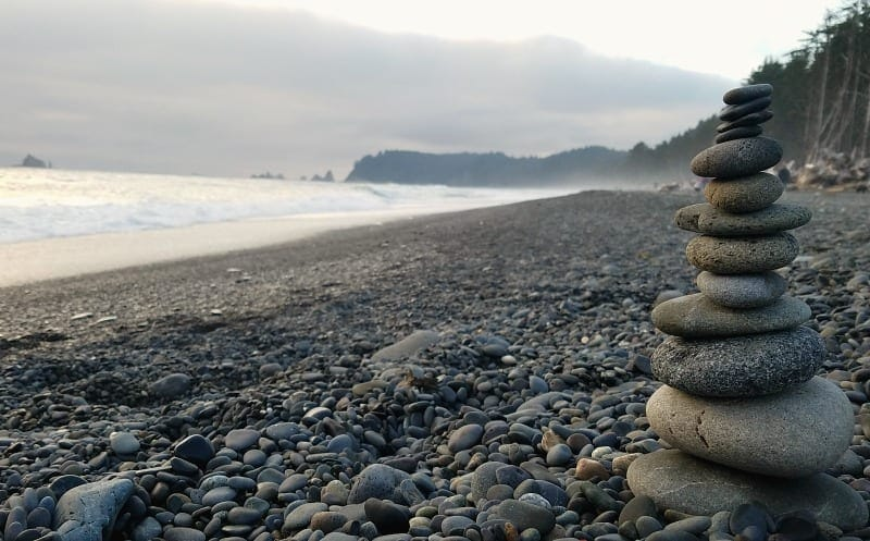 Rock stacking at Rialto Beach in Olympic National Park