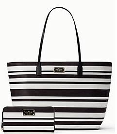 Kate Spade Black Stripe Wallet & Purse Combo