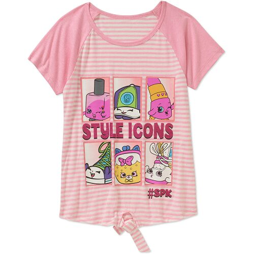 Shopkins Girls' Style Icons Raglan Tie Front Short Sleeve Graphic Tee