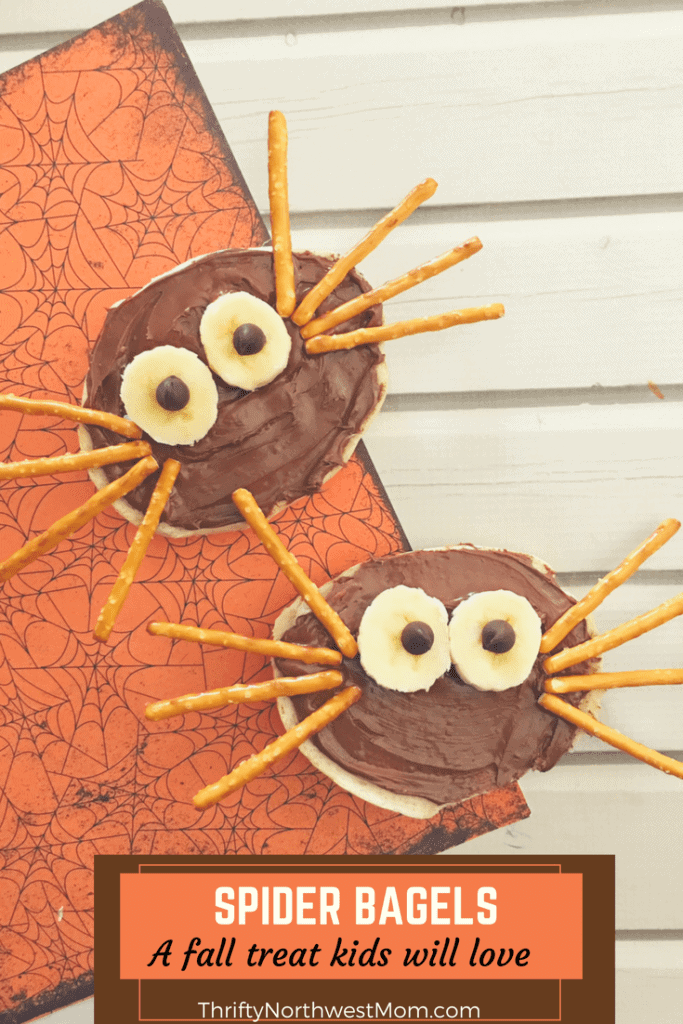 Spider Bagels -an easy Fall treat perfect for Halloween or Harvest parties