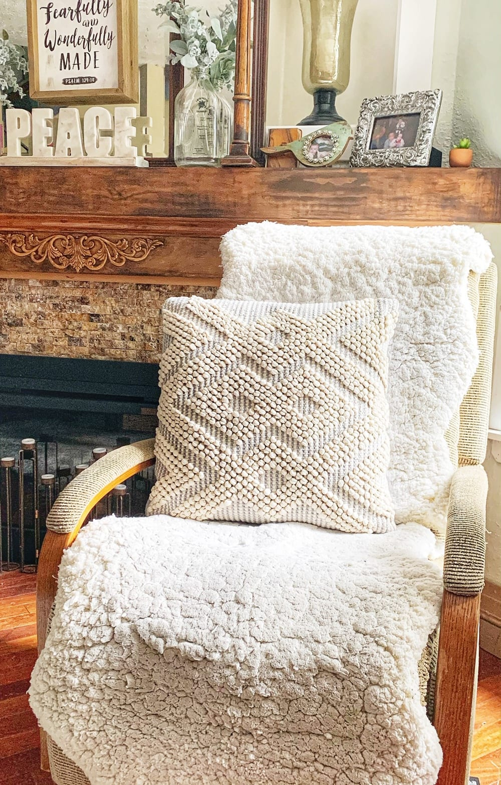 recover a recliner chair with faux fur rugs