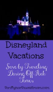 If you're taking a Disneyland vacation, save money by traveling during off peak times