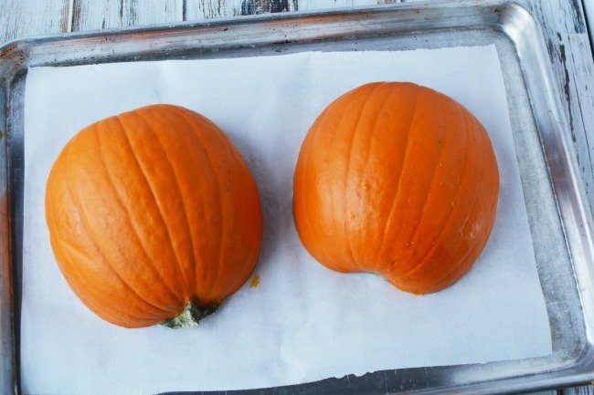 Cooking a pumpkin in the oven for pumpkin puree