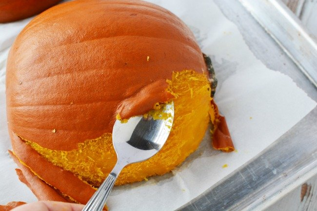 Peel the cooked pumpkin for pumpkin puree