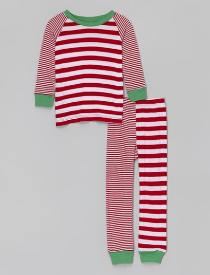 Red and White Striped Pajamas for christmas