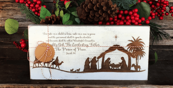 Wood Nativity Sign