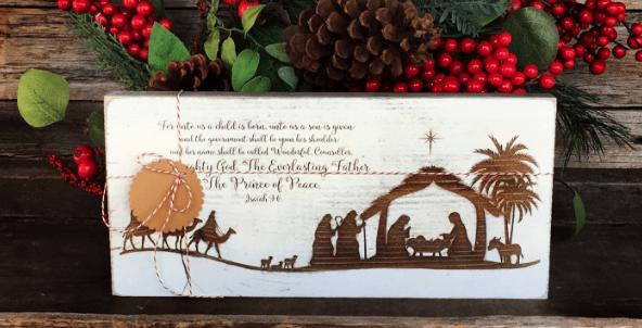 Wood Nativity Sign – $14.99 + Free Shipping