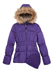 Girls Hooded Puffer Coat with Hat