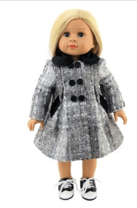 "18"" Doll Silver & Black Button Coat"
