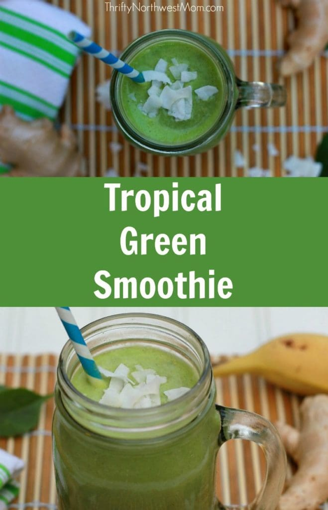 This tropical green smoothie recipe is kid friendly & full of vitamins & minerals to boost your immune system